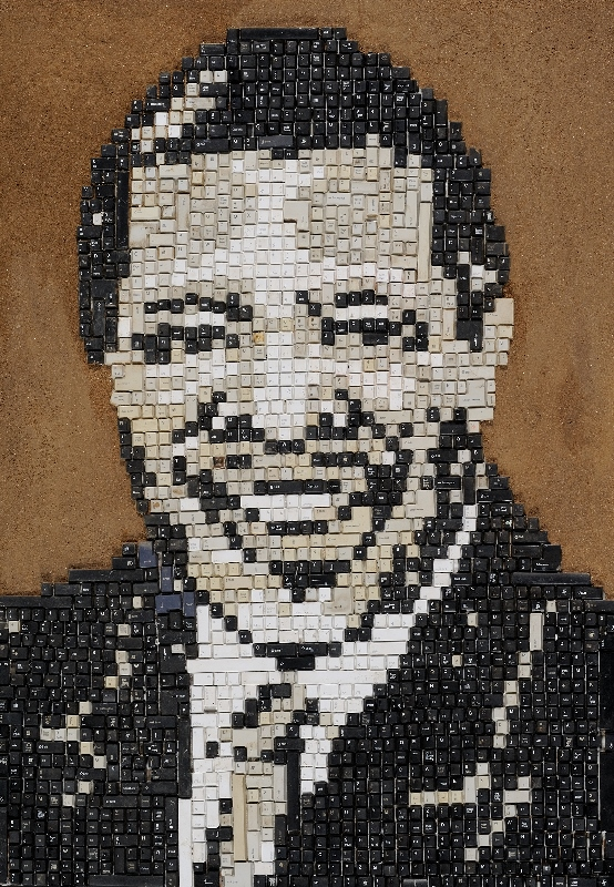 Merit:  Hage Mukwendje - 'Dr. Hage Geingob'. Merit Award in New Media Category (Mixed media  122 x 85 cm)