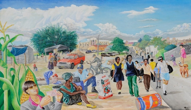 David Linus - 'Namibian Ministries' Third Place in Tow Dimensional Art Category. (Mixed media, 61 x 104 cm)