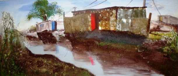 Urban Flood Mixed Media Painting