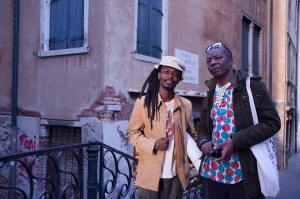 Artist Tafadzwa Gwetai and curator Raphael Chikukwa, Venice, 2015 Photograph by Nicola Brandt